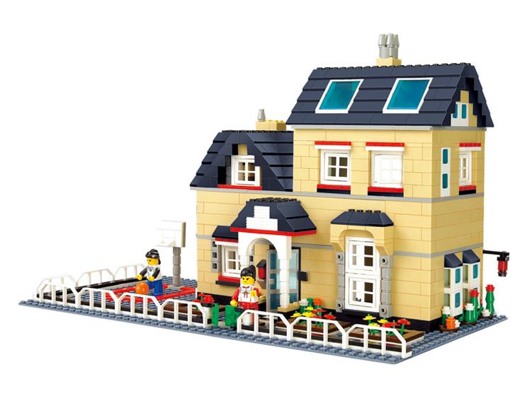 拼插玩具乐高式塑料拼装积木乐高小人城市大别墅房子