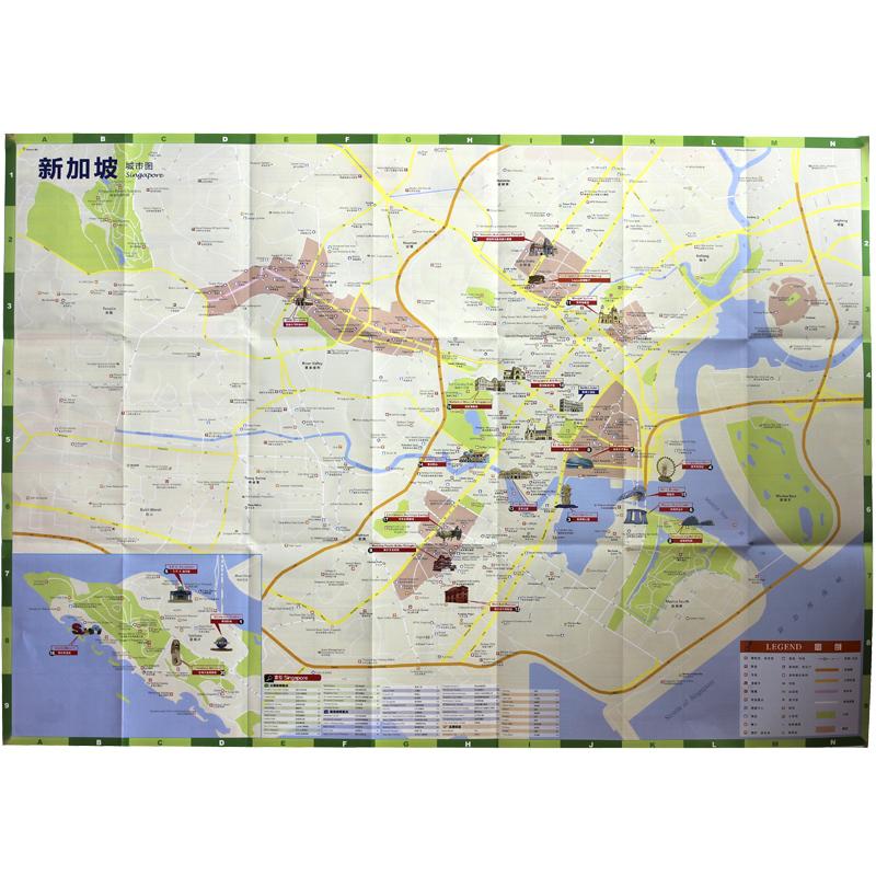 2017年【赠】旅游手账新加坡旅游地图景中英文互译景点交通美食购物