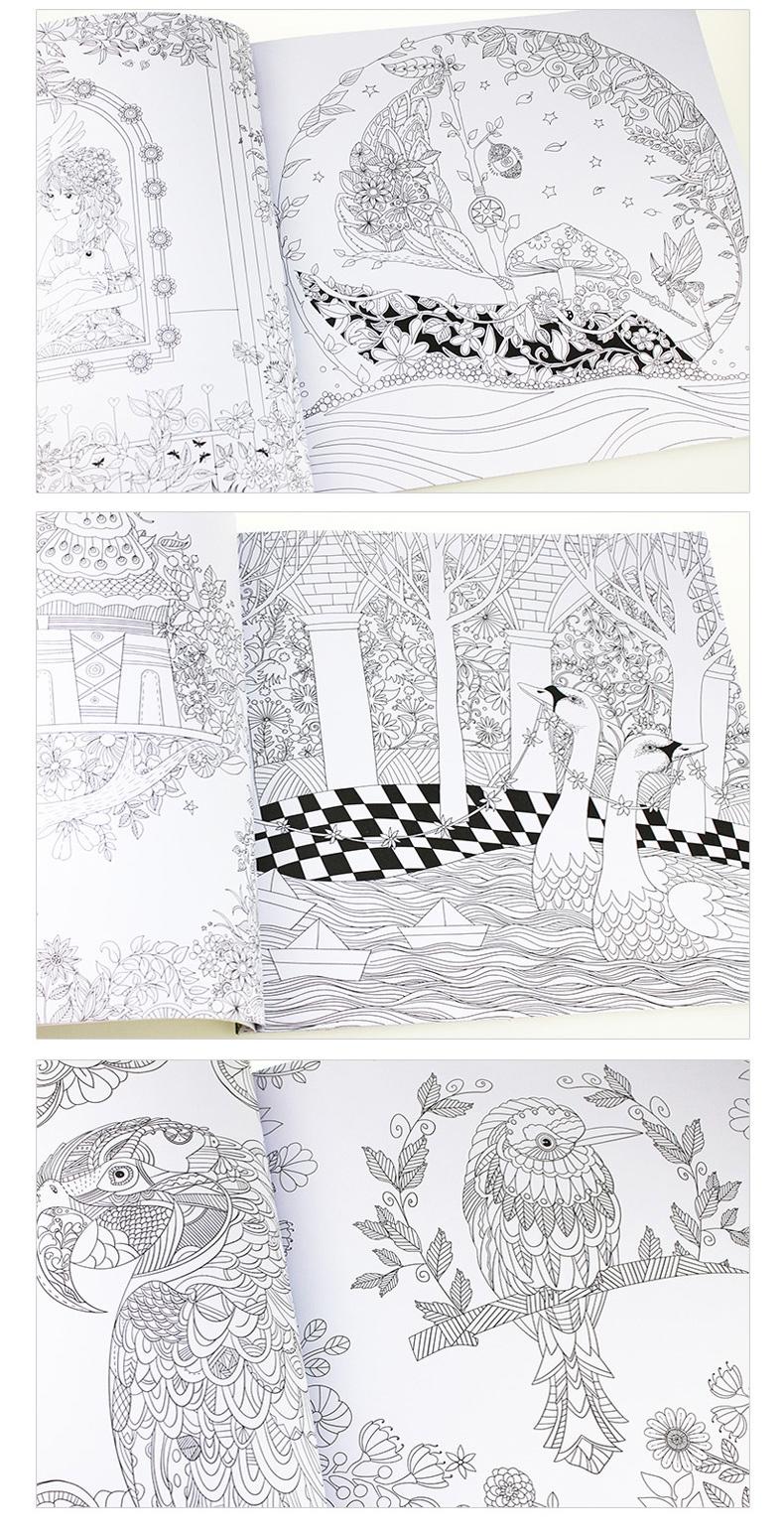 手绘涂色书 成人填色本减压时间旅程 神秘花园 童话梦境 奇幻森林全套