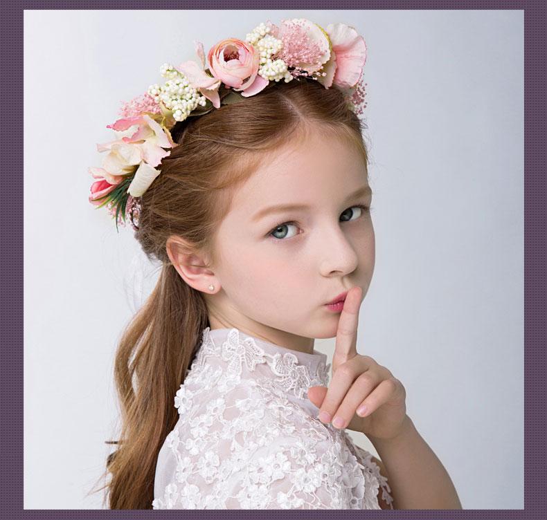 新年时尚女童发饰儿童头饰 儿童演出礼服配饰 新娘花童花环手环_紫色