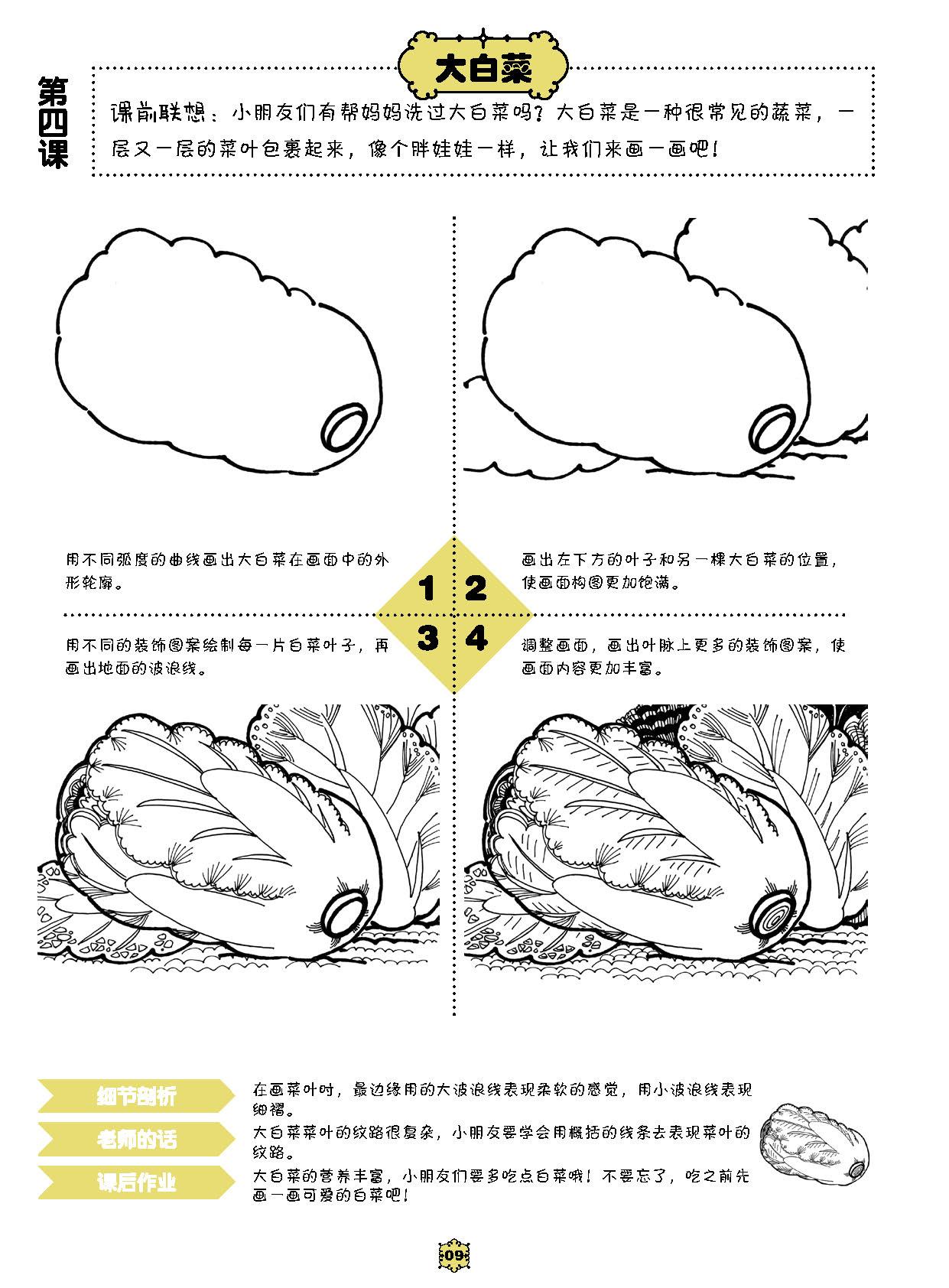 全6册 敲门砖 启蒙小画家 线描·创意篇植物人物美食动物 儿童绘画画