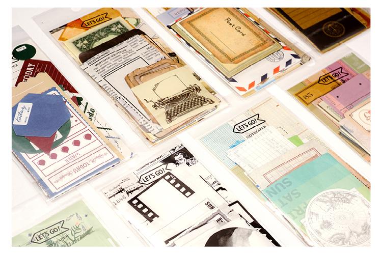 复古边框便签纸手帐黑白方格素材做旧票据牛皮纸拼贴计划便签包