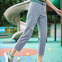 茵曼夏装新款高腰复古破洞毛边韩版休闲修身显瘦小脚牛仔裤女