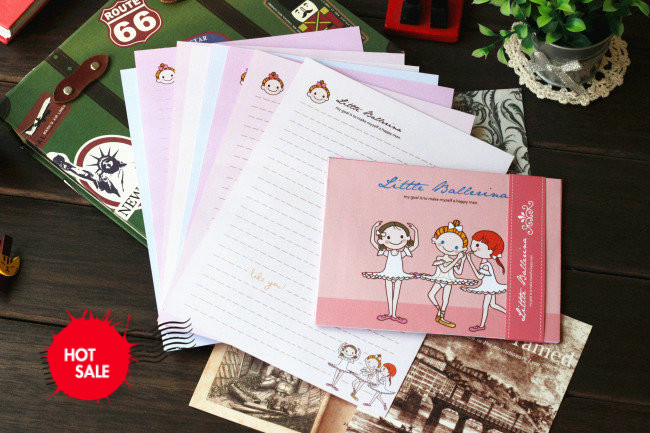 日照鑫 唯美可爱芭蕾女孩/复古可爱做旧普拉手工 信纸信封套装 8信纸