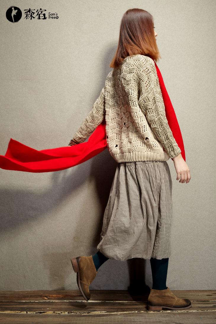 森宿 鹊桥仙~夏装秋装夏季休闲混织毛线镂空复古毛衣 2239070 文艺图片