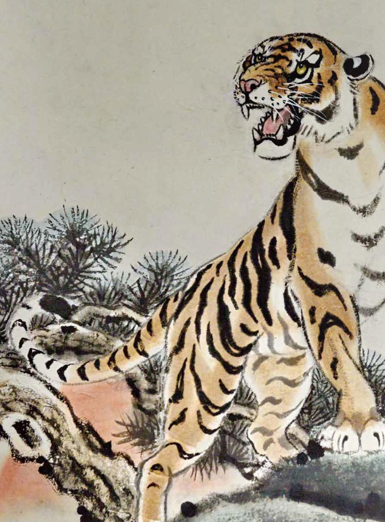 壁纸 动物 国画 虎 老虎 桌面 790_1072 竖版 竖屏 手机