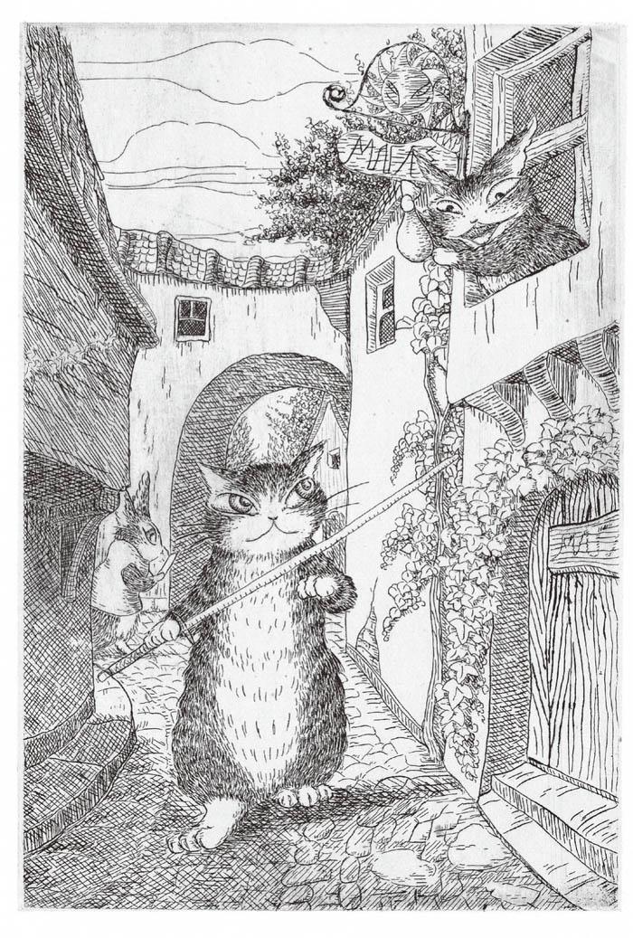 森林动物素描画画面